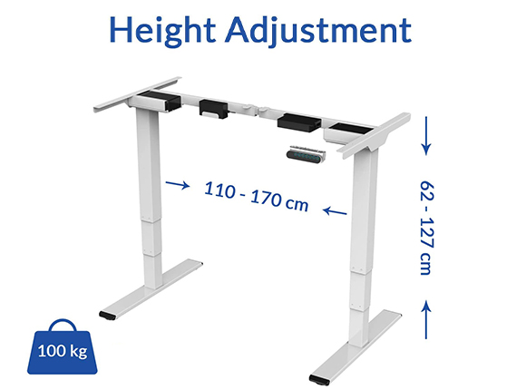 L-shaped standing desk with 177lbs weight capacity