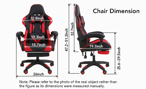 This ergonomic gaming chair has an ultra-wide design with a high seat back that meets the needs of most Americans. Note: Please refer to the photo of the real object rather than the figure as its dimensions were measured manually.