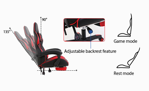 From game mode to rest mode, this gaming chair will support you all the way. The backrest, which can be adjusted between 90 and 135 degrees with one hand, will support your neck and back for comfortable bliss.